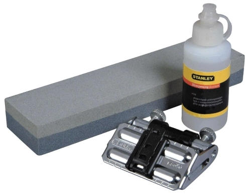 Stanley Blade Sharpening Kit consisting of sharpening stone, honing guide and oil.